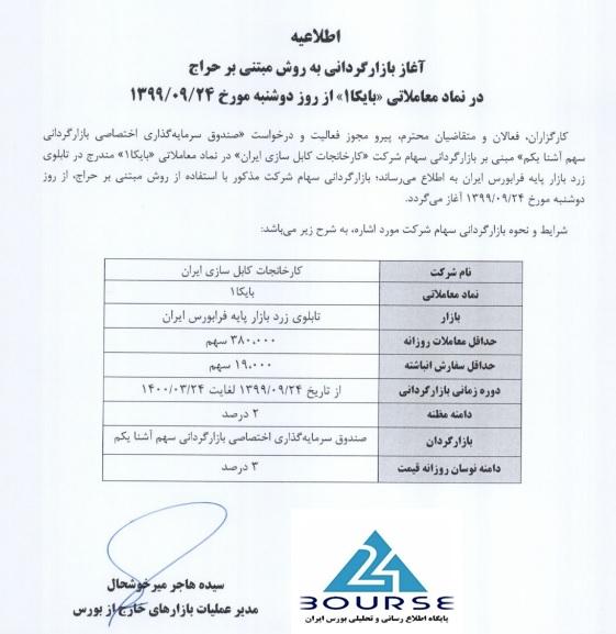 بازارگردان کارخانجات کابل سازی ایران مشخص شد