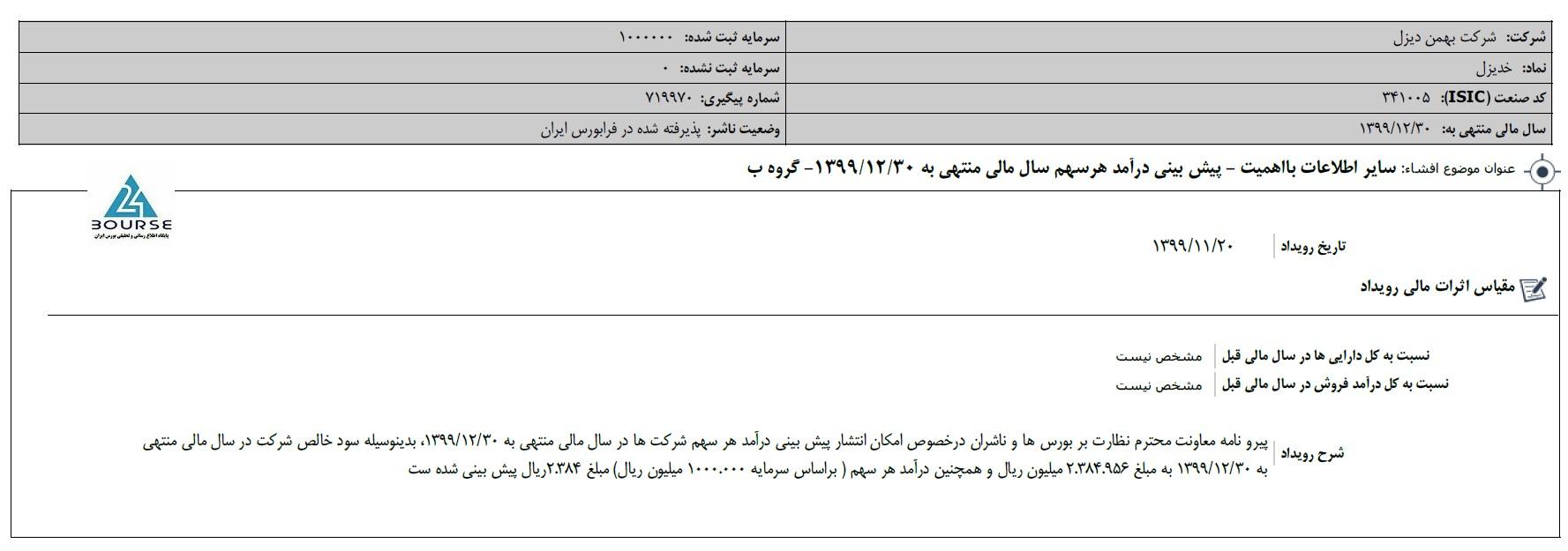 بهمن دیزل و پیش بینی بودجه سال جاری