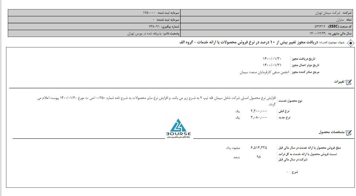 سیمان تهران مجوز افزایش نرخ گرفت