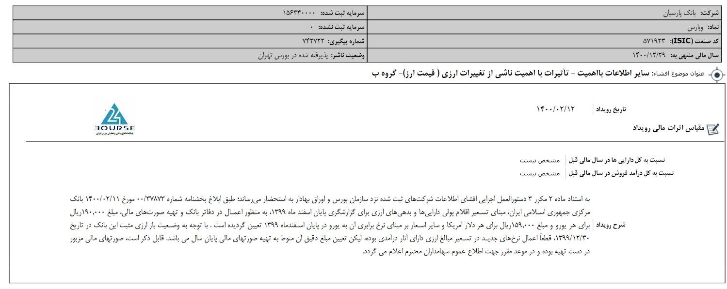بانک پارسیان از تعیین نرخ تسعیر ارز خبر داد