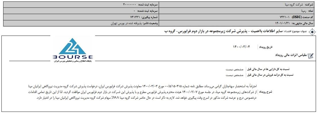 مدیریت نیروگاهی ایرانیان مپنا در فرابورس پذیرش شد