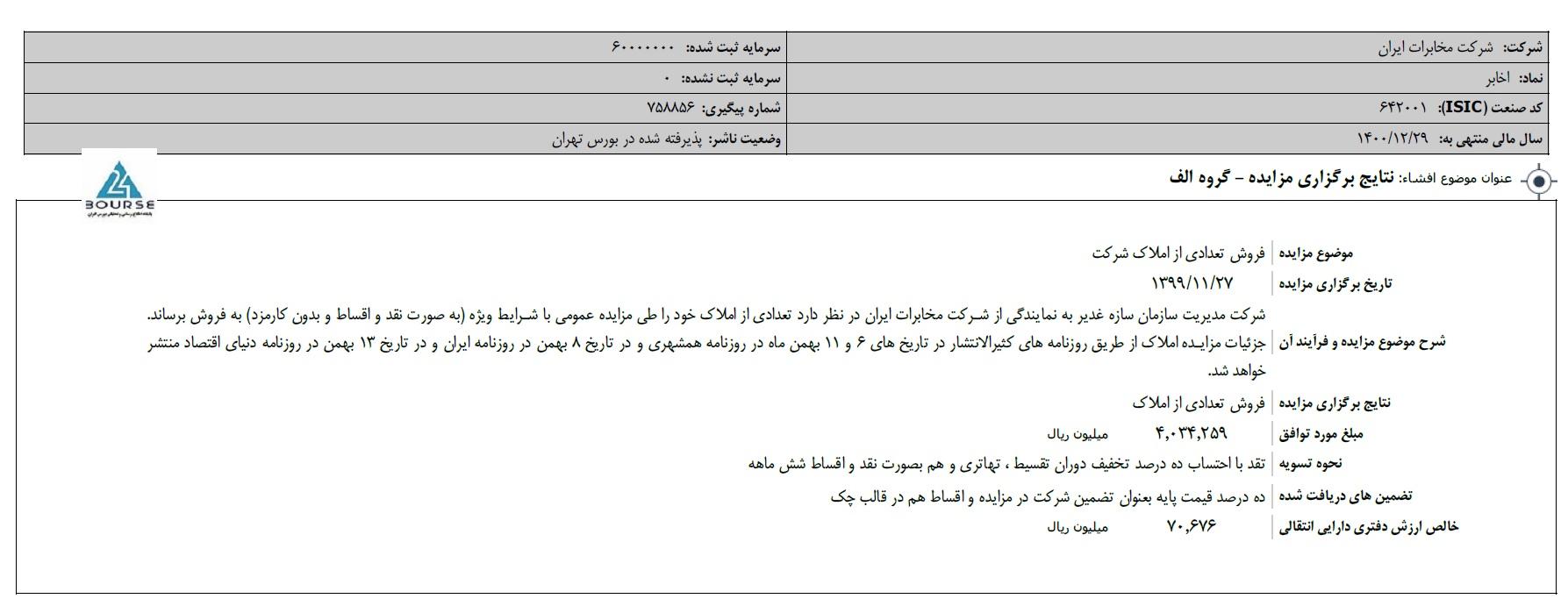 مخابرات ایران از نتیجه برگزاری مزایده گفت