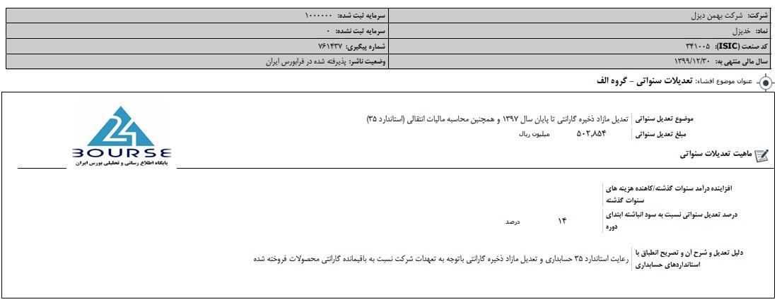 بهمن دیزل از تعدیلات سنواتی گفت
