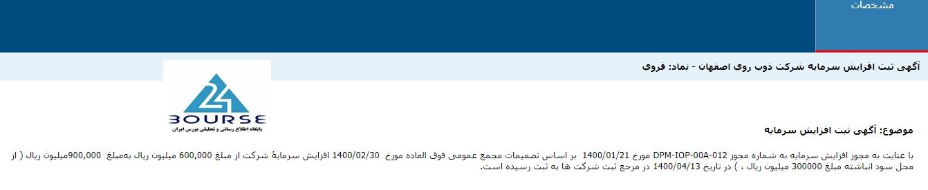 افزایش سرمایه ذوب روی اصفهان پایان کار گرفت